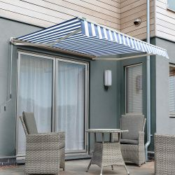 5.0m Half Cassette Electric Awning, Blue and White Stripe
